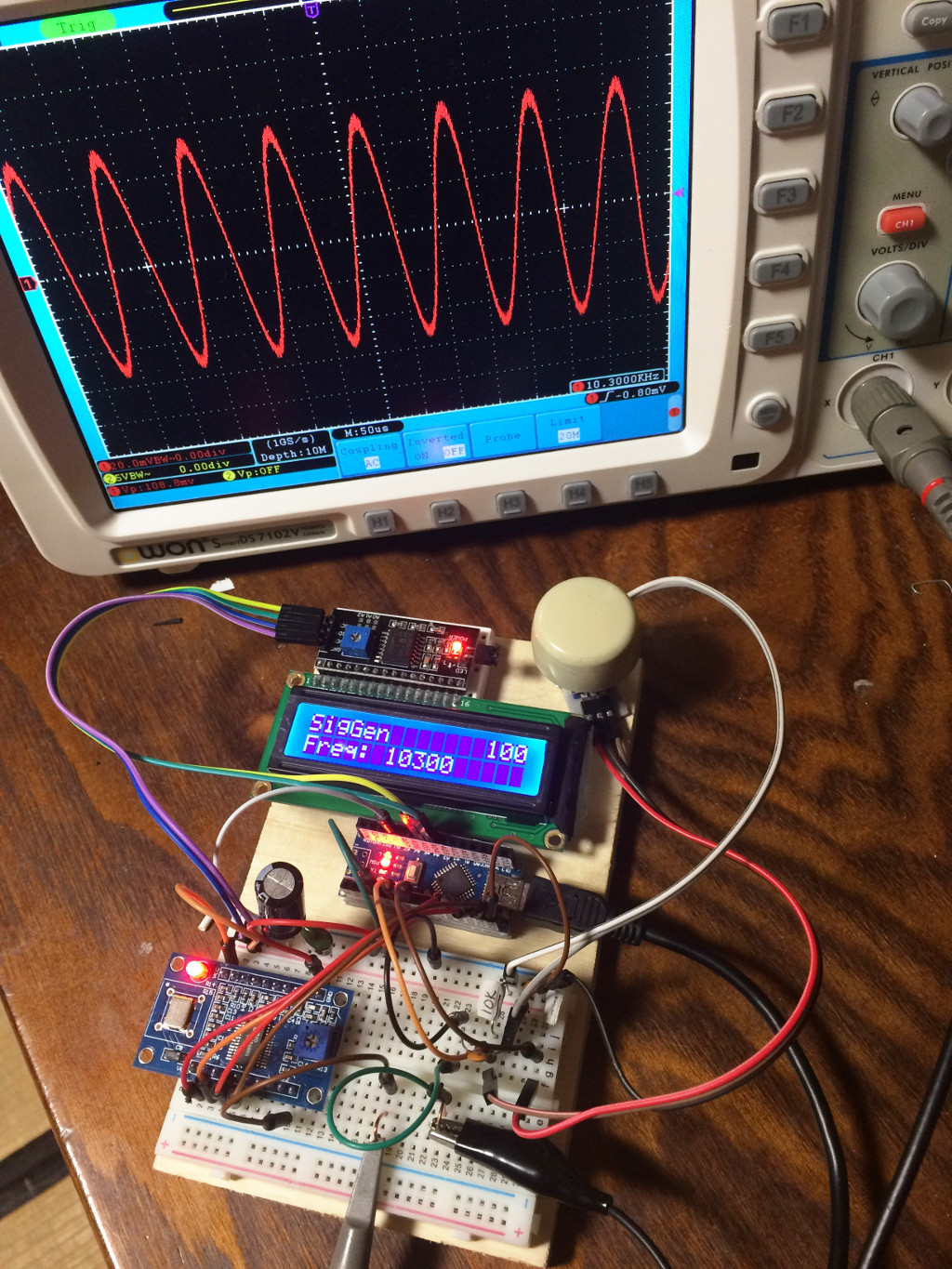 Ad9850 Based Signal Generator At Rotary Encoder Display Schematic Admittedly The Tricky Part Of This Was Getting To Behave But I Think Came Up With A Good Algorithm Deal It Which Is Responsive